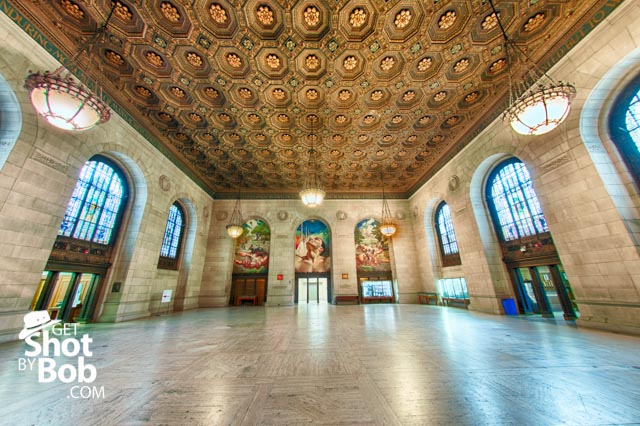 A fisheye view of the Detroit Public Libry's third floor mural located in Adam Strohm Hall