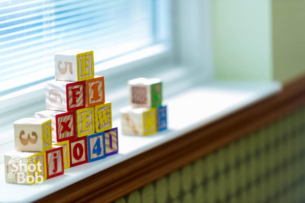 Blocks on window sill