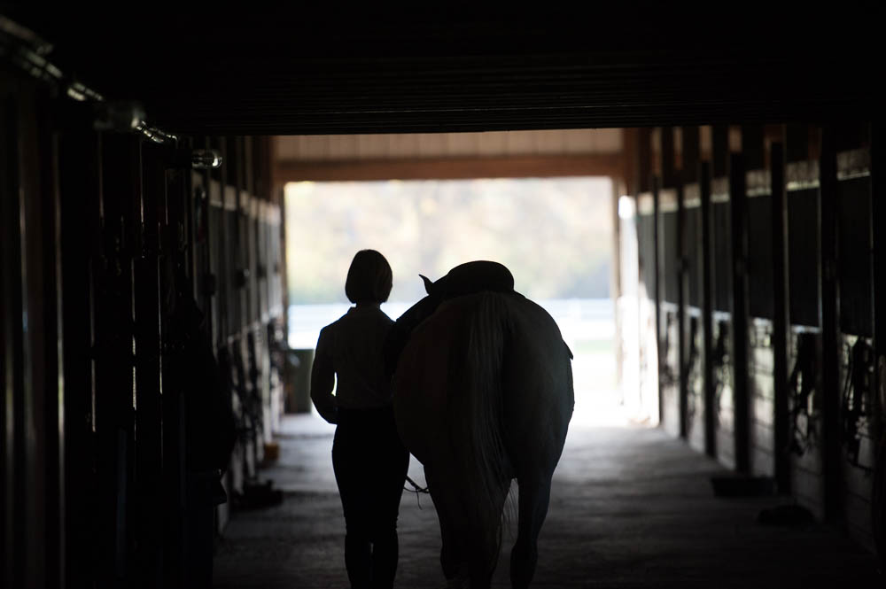 Girl and horse silhouetted against the long walkway of the stable
